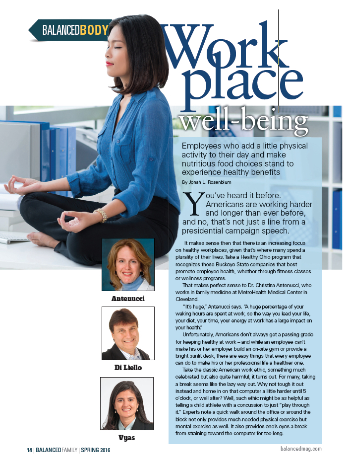 Balanced Body - Work Place Well-Being Publication Front Cover Photo - Salvatore Di Liello, N.D. Natropathic Doctor